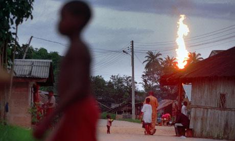 Oil flaring in Akaraolu, Nigeria