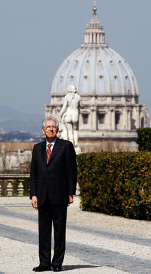 Italian PM Monti is seen before meeting Maltese President Abela at Villa Doria Pamphilj in Rome