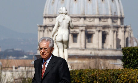 Italian PM Mario Monti seen before meeting Maltese President Abela at Villa Doria Pamphilj in Rome