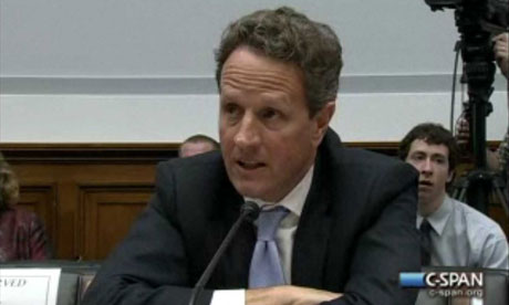 US treasury secretary Tim Geithner testifying to Congress.