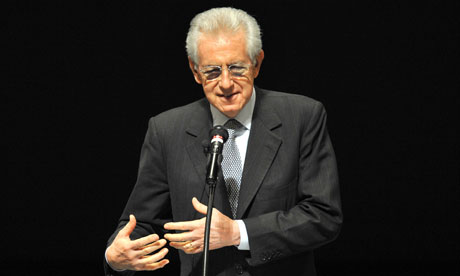 Italy's Prime Minister Mario Monti gives a lecture during his visit to Tokyo.