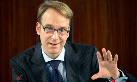 Bundesbank president Jens Weidmann speaks during the annual balance press conference in Frankfurt.