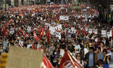 Thousands of people protest against recent labour reform in Madrid, Spain.