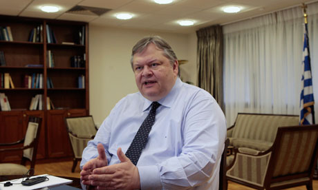 Greek Finance Minister Evangelos Venizelos is seen in his office in Athens.