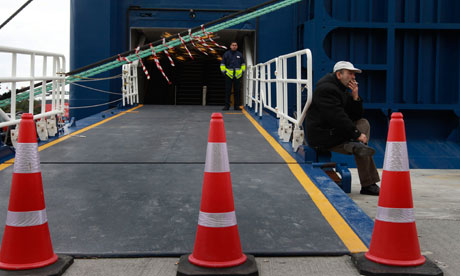Greek ferry workers begin a 48-hour strike at the Piraeus port near Athens