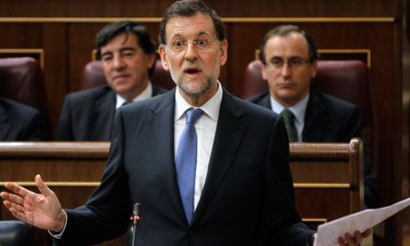 Spain's prime minister Rajoy speaks during question time at parliament in Madrid. 11 April 2012