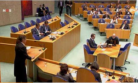 Scene in the Dutch parliament during a debate on the politicial crisis, April 24 2012.