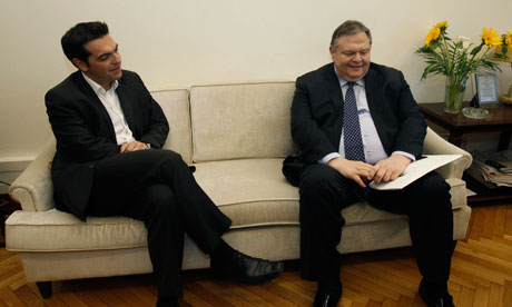 Leader of the Left Coalition party Alexis Tsipras and PASOK's Evangelos Venizelos.