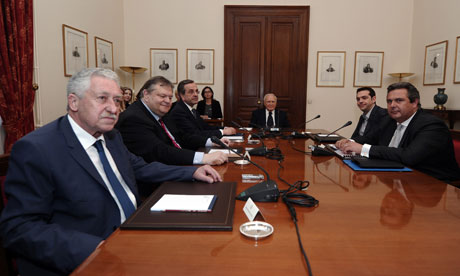 Greek leaders meeting at the presidential palace in Athens.