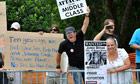 Protesters outside JP Morgan's annual shareholders meeting in Tampa, Florida.