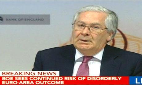 Bank of England governor Mervyn King, May 16 2012