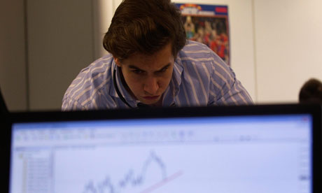A trader on a trading floor in Madrid
