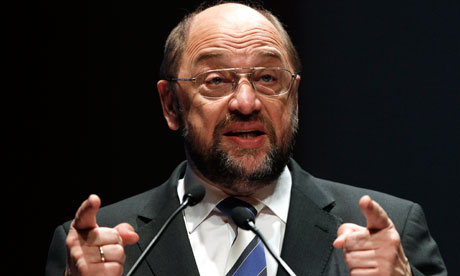 President of the European Parliament Martin Schulz delivers a speech in Athens