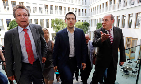 Klaus Ernst, Alexis Tsipras and Gregor Gysi in Berlin.