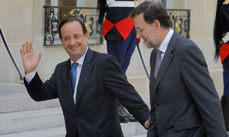 French President  Francois Hollande, left, and Spain's Prime Minister Mariano Rajoy.