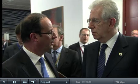 Francois Hollande and Mario Monti.