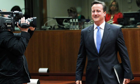Britain's Prime Minister David Cameron at an European Union leaders summit in Brussels.