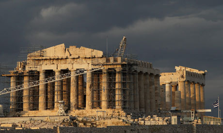 Dark clouds over the Acropolis