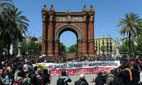 Students demonstrate against austerity cuts in Barcelona, as ECB meets, on 3 May 2012.