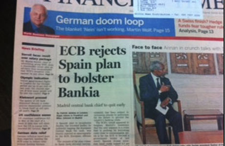 Financial Times front page, May 30 2012.