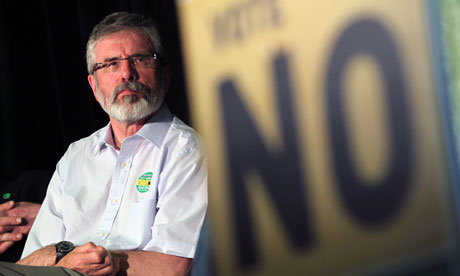Sinn Fein President Gerry Adams at a No rally ahead of the Irish fiscal pact referendum.