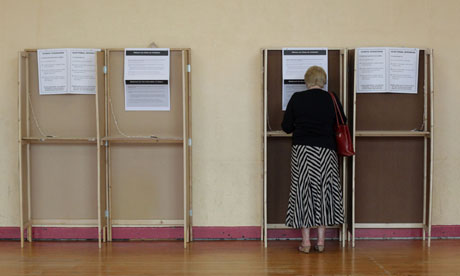 A voter marks her ballot in the referendum on the European fiscal treaty in Dublin.