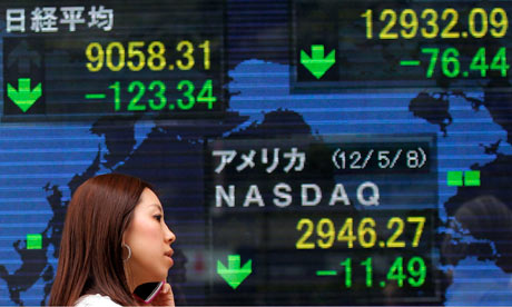 An electronic stock board showing Japan's Nikkei 225 index.