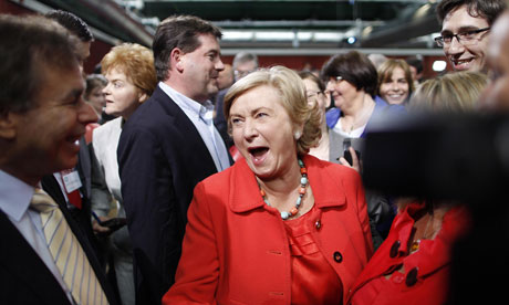 Fine Gael's Frances Fitzgerald celebrates  in the Dublin Castle count centre