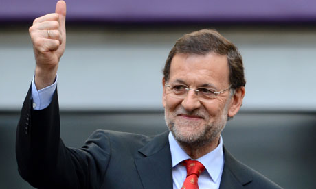 Spanish prime minister Mariano Rajoy at the Euro 2012 football match between Spain and Italy