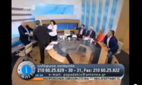 Greek Golden Dawn spokesman Ilias Kasidiaris throwing punches on live TV.