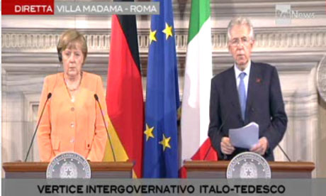 Angela Merkel and Mario Monti.