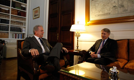 Head of the EC task force for Greece Horst Reichenbach, right, and Greece's Dimitris Avramopoulo