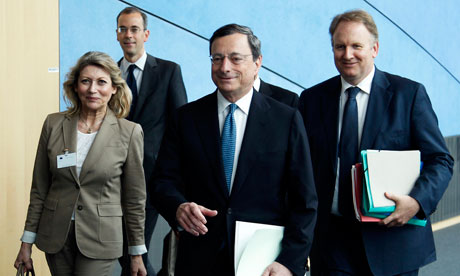 ECB President Mario Draghi arriving to testify at the European Parliament.