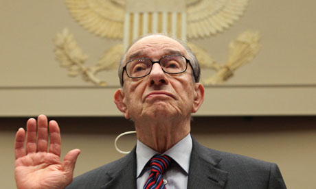 Former Federal Reserve chairman Alan Greenspan testifying before the US Financial Crisis Inquiry Commission in 2010. Photograph: J Scott Applewhite/AP