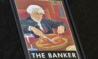 A painted sign for 'The Banker' public house in the City of London