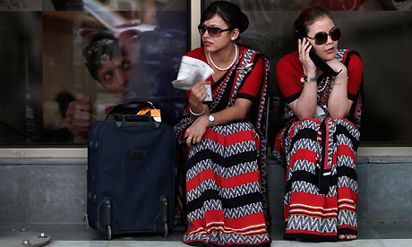 Cabin crew outside Delhi airport