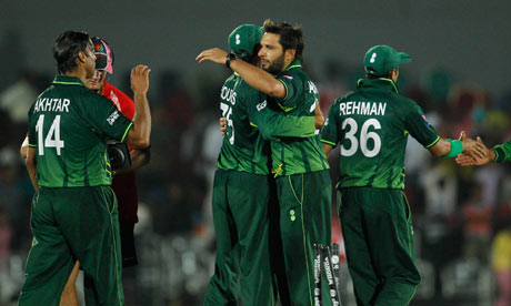 Pakistan celebrate after defeating Kenya in the ICC Cricket World Cup last year
