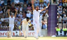 England's James Anderson appeals with success for the wicket of the India batsman Ravindra Jadeja