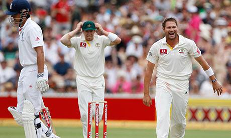 Ryan Harris celebrates after dismissing Alastair Cook