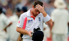 England's Ian Bell leaves the field after being dismissed