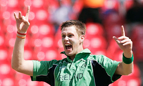 Ireland's Boyd Rankin celebrates against England at the 2007 World Cup