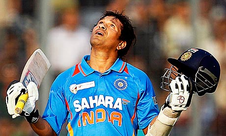 Sachin Tendulkar celebrates his 100th international century during India's match against Bangladesh