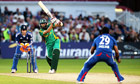 South Africa's Hashim Amla smashes the ball past England's Samit Patel
