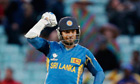 Kumar Sangakkara of Sri Lanka celebrates the Champions Trophy win over England