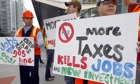 energy citizens demo with placards saying more taxes kills jobs