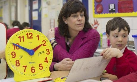 teacher with clock