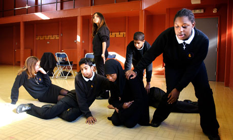 Year 9 pupils in a drama lesson. There are fears the Ebacc would cause arts subjects