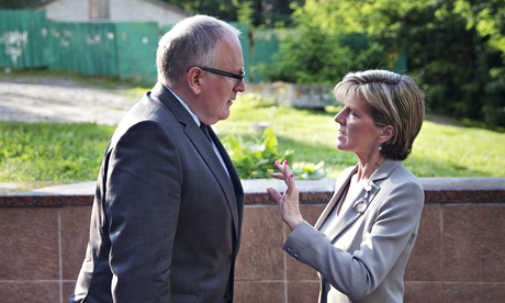 Dutch foreign minister Frans Timmermans talks to his Australian counterpart Julie Bishop in Kiev. They are seeking help from the Ukrainian parliament for the investigation. Photograph: Jerry Lampen/EPA
