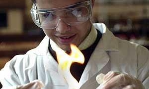 Secondary school pupil in science lesson