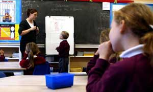 A teacher giving a maths lesson to pupils at Laindon Park primary school, Laindon, Essex